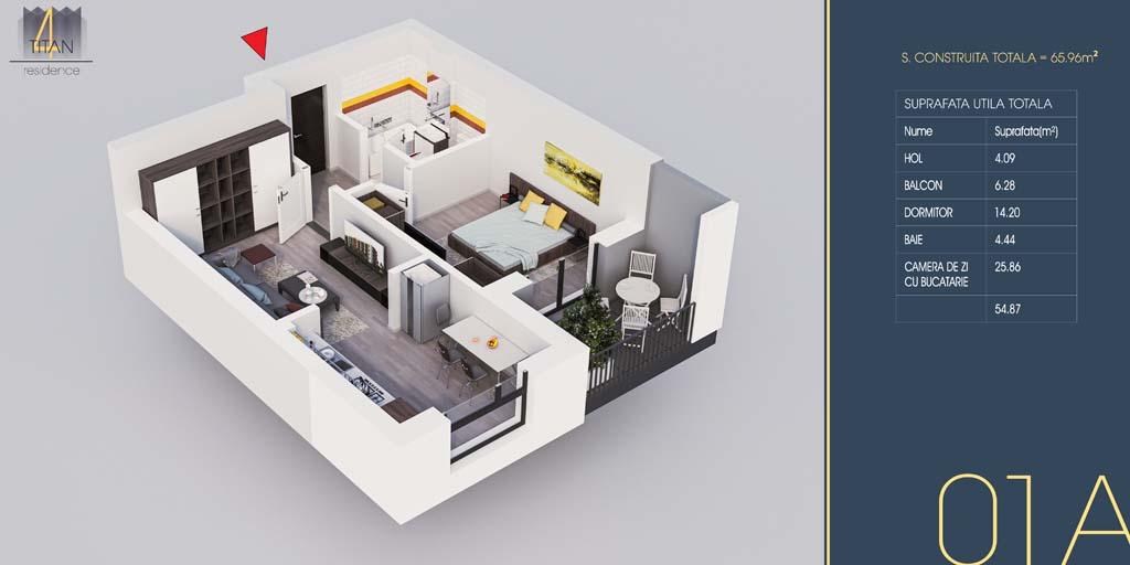 P3 / 01A – Apartament cu 2 camere